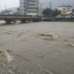 養父市八鹿町 2018年7月6日 梅雨前線の増水した八木川2